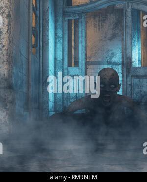 La casa de los muertos vivientes,mujer fantasma que nunca va a ir a otro lugar, pero su casa.3d ilustración Imagen De Stock