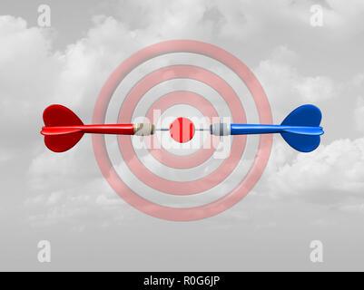Concepto de competencia como un símbolo de éxito empresarial como rivales compiten por el mismo objetivo de bullseye como flechas dart se centró en el objetivo central. Imagen De Stock