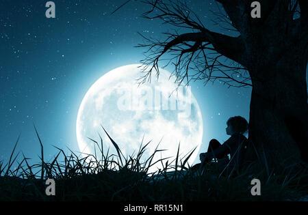 Lonely chica sentada sola bajo el árbol y mirando a la luna,3D rendering Imagen De Stock