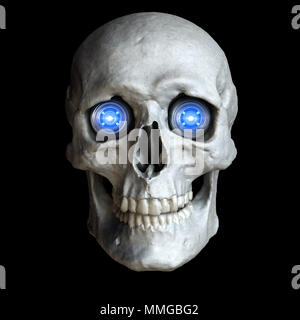 Cráneo con brillantes ojos cibernéticos.3D ilustración Imagen De Stock