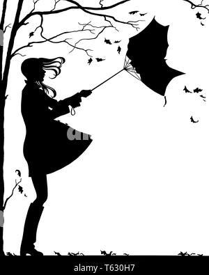 1960 1970 JOVENCITA CON PELO volador paraguas convertido Inside Out muy lluvioso día de Otoño ventoso silueta simbólica ilustración - s17621 HAR001 HARS equilibrar seguridad estilo ABSTRACTO hembras salubridad vida doméstica copia espacio señoras DE LONGITUD COMPLETA PERSONAS LLUVIAS RIESGO ADOLESCENTE LLOVIENDO SÍMBOLOS ESPIRITUALIDAD TORMENTOSO B&W tristeza muy aventura siluetas de intensidad de protección de emoción potente gira dirección concepto Conceptual escapar elegante ventoso adolescente anónimo conceptos simbólicos Inside Out adulto joven mujer NEGRO Y BLANCO HAR001 REPRESENTACIÓN ANTIGUA soplada por el viento Imagen De Stock