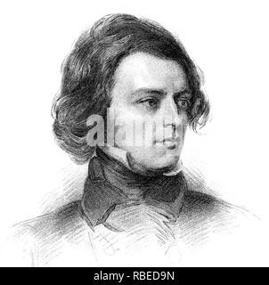 ALFRED TENNYSON (1809-1892) poeta inglés como un hombre joven Imagen De Stock