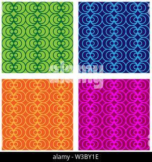 Conjunto de patrones sin fisuras de múltiples colores de círculos y círculos. Modernos colores aleatorios. Ideal para textiles, embalajes, papel de impresión, fondos sencillos Imagen De Stock