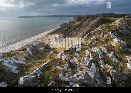 West Cliff, la Península de Gower, al sur de Gales, Reino Unido, Europa Imagen De Stock