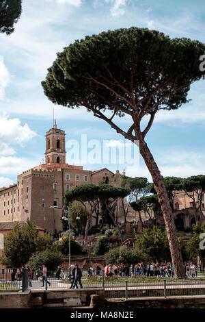Vistas a Via dei Fori Imperiali a la Basílica di Santa Maria in Ara Coeli, Roma Imagen De Stock