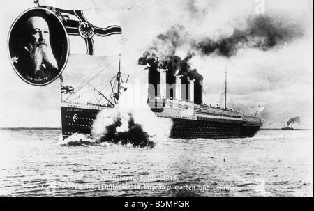 9 1915 5 7 A1 2 E Lusitania Propaganda postal la I Guerra Mundial, la guerra en el mar el 7 de mayo de 1915 La Cunard Imagen De Stock