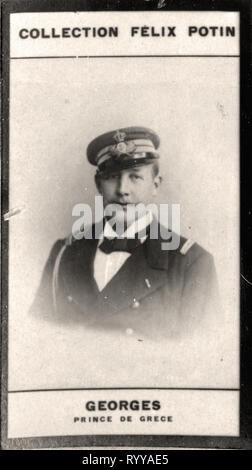 Retrato fotográfico de Georges Prince De Grce Colección de Félix Potin, de principios del siglo XX. Imagen De Stock