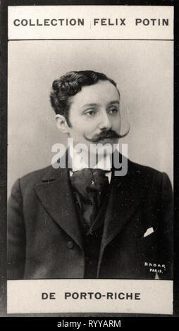 Retrato fotográfico de Porto Riche de colección Félix Potin, de principios del siglo XX. Imagen De Stock