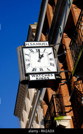 H Samuel reloj fuera tienda sucursal en Norwich, Norfolk, Inglaterra Imagen De Stock
