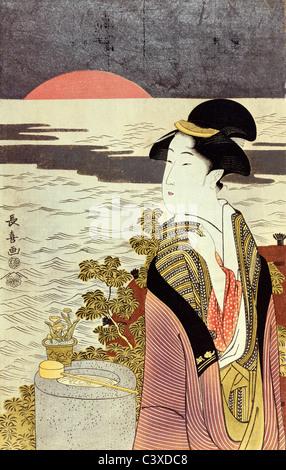 Una niña y la puesta de sol sobre el mar en Año Nuevo, por Eishosai Choki. Japón, siglo XVIII Imagen De Stock
