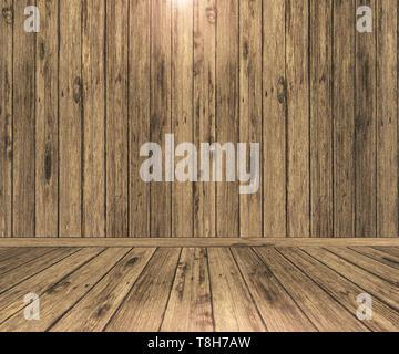 3D Render de un espacio interior de madera Imagen De Stock