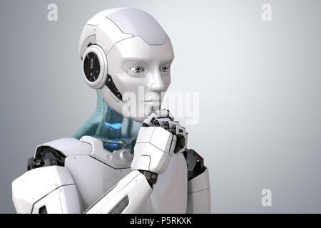 Pensar el robot. Trazado de recorte incluido. Ilustración 3D Imagen De Stock