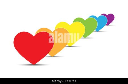 Seis símbolos de corazones en colores de LGBT, diseño plano Imagen De Stock