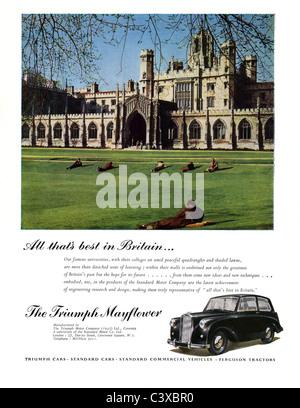 Anuncio para el triunfo del coche Motor Company el triunfo Mayflower, desde el Festival de Gran Bretaña, guía, Imagen De Stock