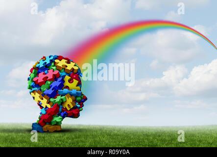 El síndrome de Asperger como un trastorno mental con el desarrollo de la comunicación no verbal de comportamiento como un niño cuenta con una esperanza de arcoiris de terapia y tratamiento Imagen De Stock