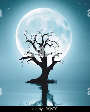 3D rendering de lonely árbol muerto en agua paisaje Imagen De Stock
