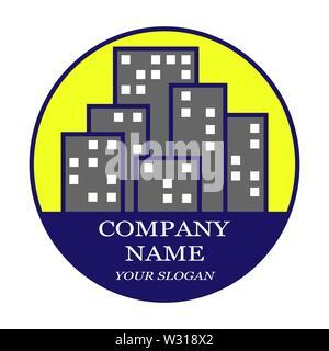 Logotipo de la empresa inmobiliaria, construcción, compañías de alquiler de vivienda Imagen De Stock
