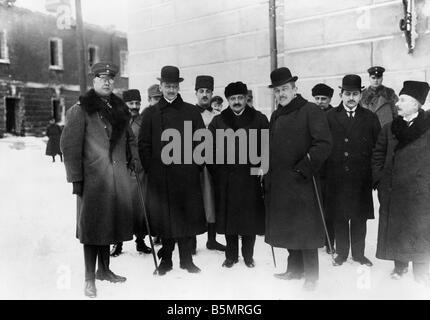 9 1917 12 15 A1 5 El Embajador de las potencias centrales 1917 Guerra Mundial 1 1914 18 ruso de Brest Litowsk armisticio Imagen De Stock