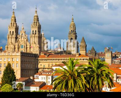 España, Galicia, Santiago de Compostela, la catedral. Sitio de Patrimonio Mundial de la UNESCO Imagen De Stock