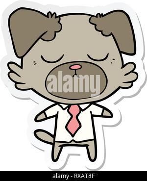 Pegatina de un lindo perro cartoon vistiendo la camiseta de oficina Imagen De Stock