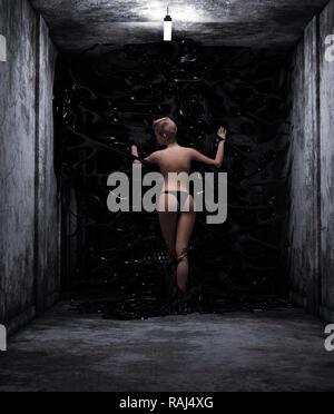 Mujer ser atrapado por limos,3d ilustración Imagen De Stock