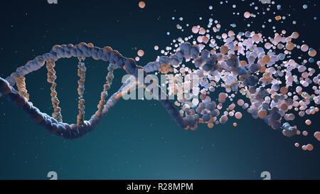 Hebra de ADN el montaje de elementos diferentes. Ilustración 3D Imagen De Stock