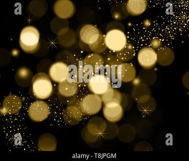 Bokeh de fondo de navidad luces, estrellas y destellos luminosos Imagen De Stock