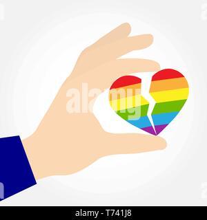 Mano sujetando un corazón dividido en los colores de LGBT, diseño plano Imagen De Stock