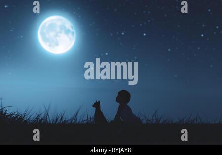 Chica con su perro sentado en campo de hierba mirando a la luna,3D rendering Imagen De Stock