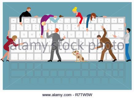 Un montón de gente compartiendo enorme teclado de ordenador Imagen De Stock