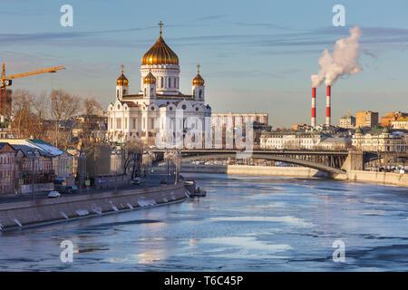 La catedral de Cristo el Salvador, paisaje urbano, Moscú, Rusia Imagen De Stock