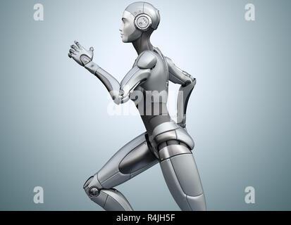 Ejecutando cyborg sobre fondo brillante. Ilustración 3D Imagen De Stock