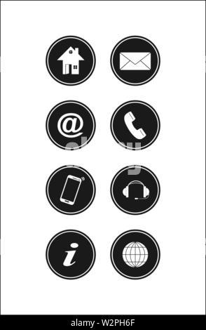 Conjunto de botones negros para sitios web y aplicaciones, diseño sencillo Imagen De Stock