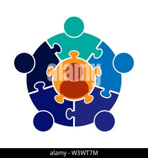 Trabajo en equipo logotipo.Círculo en la forma de un rompecabezas de 6 piezas. Diseño plano Imagen De Stock