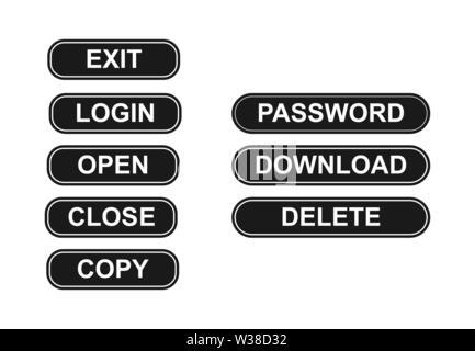 Conjunto de botones simples con palabras equipo popular. Diseño plano Imagen De Stock