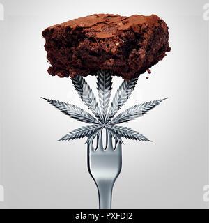 El cannabis o la marihuana comestibles brownie edibles tentempié con una hoja que representa la olla bien cocida infundido con alimentos fabricados a base de hierbas medicinales psicoactivas. Imagen De Stock