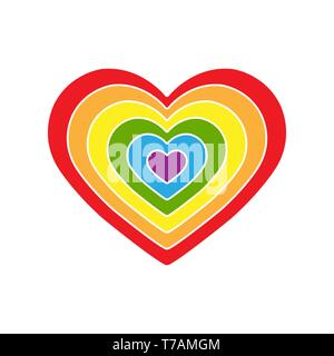 Todo el corazón se compone de varios corazones en colores LGBT Imagen De Stock