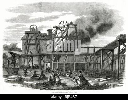 Incendio en Banco Página Colliery, Durham. Imagen De Stock