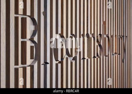 Paneles de madera en la recepción. 8 Bloomsbury, Londres, Reino Unido. Arquitecto: Buckley gris Yeoman, 2017. Imagen De Stock