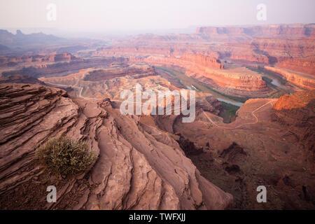 Vista de cuellos de cisne y Río Colorado en Sunrise, Dead Horse State Park, Utah, Estados Unidos Imagen De Stock