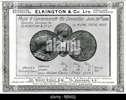 Anuncio para una selección de monedas y medallas de bronce, plata y oro, para la coronación del rey Eduardo VII y la reina Alexandra el 26 de junio de 1902. Lamentablemente, dos días antes de la fecha de vencimiento, Edward cayó gravemente enfermo con apendicitis y fue sometido a una operación de urgencia, se recuperó y la nueva fecha se realizó para el 9 de agosto de 1902. Imagen De Stock