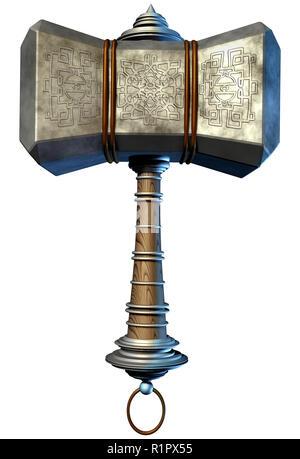 La mitología escandinava martillo objeto desde la época vikinga como una poderosa arma mística aislado sobre un fondo blanco como una ilustración 3D. Imagen De Stock