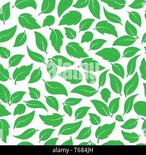 Patrón sin fisuras de hojas verdes de diferentes plantas. Ideal para textiles, embalajes, papel de impresión, fondos y texturas simples. Imagen De Stock