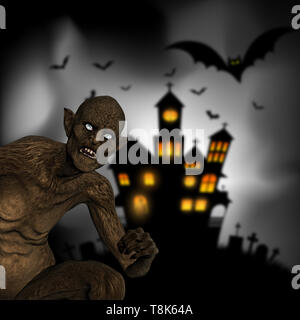 3D Render de un demonio perverso sobre un fondo de Halloween defocussed Imagen De Stock