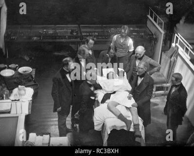 Operación de anestesia quirúrgica en el Hospital General de Massachusetts, en la primavera de 1847 como fotografiado por Southworth & Hawes al Dr. William Morton óxido nitroso administrado antes de una operación por primera vez. Imagen De Stock