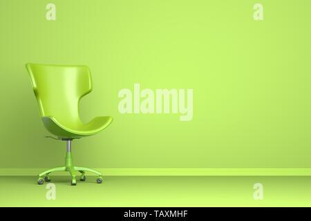 Sillón verde sobre fondo verde. Ilustración 3D Imagen De Stock
