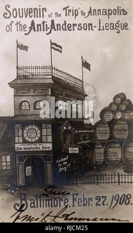 Cartoon, el recuerdo del viaje de la Liga Anti-Anderson Annapolis, Baltimore, 27 de febrero de 1908. Una sátira sobre la prohibición de movimiento del alcohol. Imagen De Stock