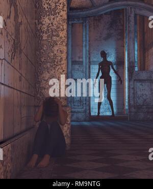 La casa de los muertos vivientes,chica está siendo perseguido por un undead.3d ilustración Imagen De Stock