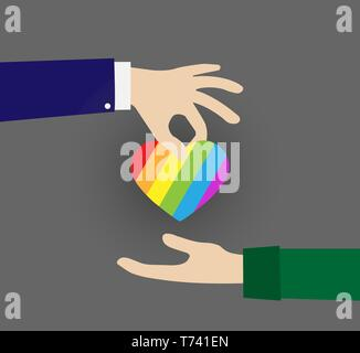 Corazón en los colores de los LGBT pasan de mano en mano, diseño plano Imagen De Stock