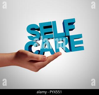 Cuidados de apoyo a la salud y al bienestar individual como un medicamento o bienestar concepto con una mano sujetando el texto con elementos de ilustración 3D. Imagen De Stock